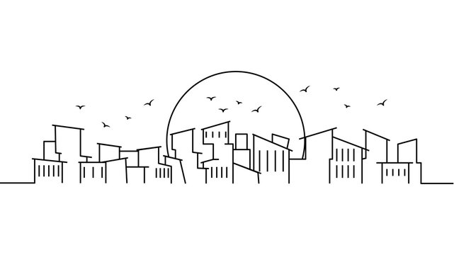 City landscape template. Thin line City landscape. Cityscape, poverty Isolated outline illustration. Urban life Vector illustration