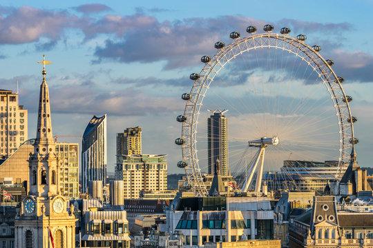 London skyline with London eye at sunset