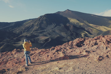 Tourist Taking Picture Of Summit Etna Volcano, Sicily