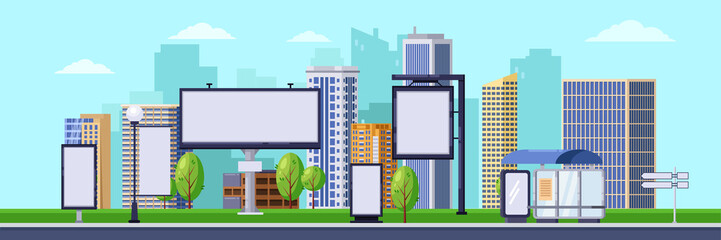 City advertising illustration. Vector cityscape with blank billboards and banners. Business promotion and advertisement