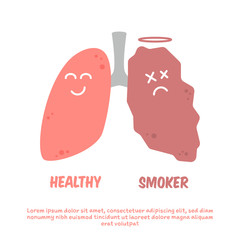 Healthy and smoker lung cartoon illustration comparison
