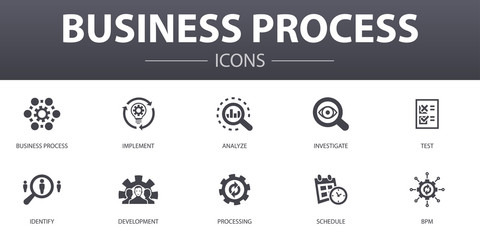 Obraz Business process simple concept icons set. Contains such icons as implement, analyze, development, Processing and more, can be used for web, logo, UI/UX - fototapety do salonu