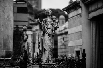Religious Holy Statue of The Virgin Mary in La Recoleta Cemetery, Buenos Aires Argentina