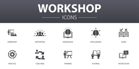 workshop simple concept icons set. Contains such icons as motivation, knowledge, intelligence, practice and more, can be used for web, logo, UI/UX Wall mural