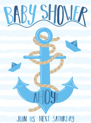 Vector image of an anchor and paper boat with the inscription Baby Shower on a striped blue background. Illustration on the sea theme for a boy sailor. Invitation card template for a holiday, birthday
