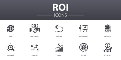 ROI simple concept icons set. Contains such icons as investment, return, marketing, analysis and more, can be used for web, logo, UI/UX