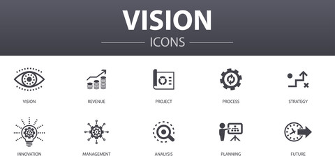 vision simple concept icons set. Contains such icons as revenue, project, process, innovation and more, can be used for web, logo, UI/UX