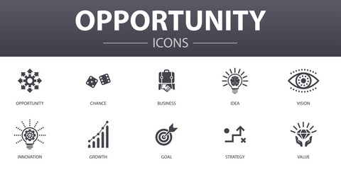 opportunity simple concept icons set. Contains such icons as chance, business, idea, innovation and more, can be used for web, logo, UI/UX