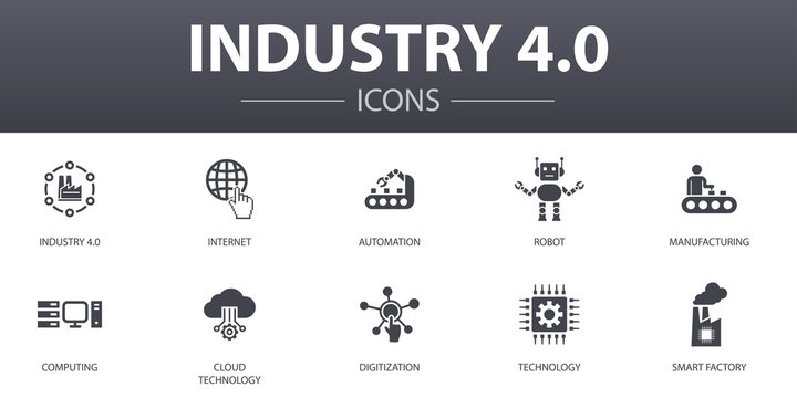 Industry 4.0 simple concept icons set. Contains such icons as internet, automation, manufacturing, computing and more, can be used for web, logo, UI/UX