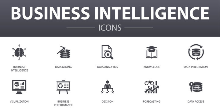 Business intelligence simple concept icons set. Contains such icons as data mining, knowledge, visualization, decision and more, can be used for web, logo, UI/UX