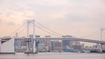 Rainbow Bridge from Odaiba with a great sky on background, Tokyo