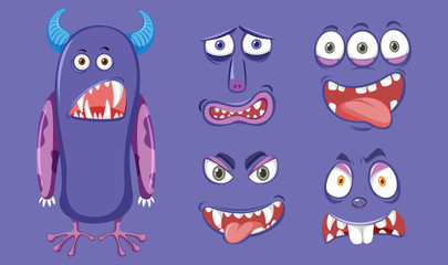 Purple monster with diffrent facial expression