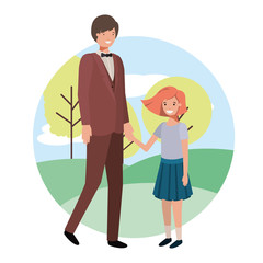 father and daughter in landscape avatar character