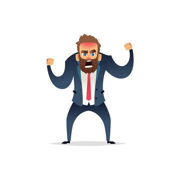 Angry bearded businessman in a rage. The manager is mad and angry. Cartoon flat character design.