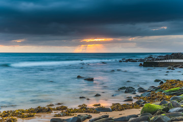 Sunrise Seascape and Cloudy Sky