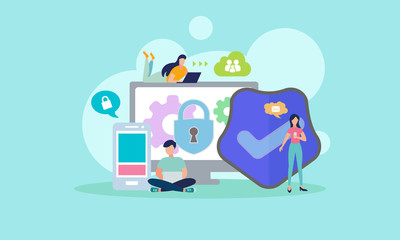 Background Character Concept Network Security Tiny People  Vector eps 10, Illustration  Suitable For Wallpaper  Banner  Card  Book Illustration  Web Landing Page  and Other Related Creative