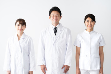portrait of asian medical group on white background