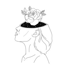 Woman in space tattoo art. Surreal girl sinks in universe. Symbol of magic, esoterics, astrology t-shirt design