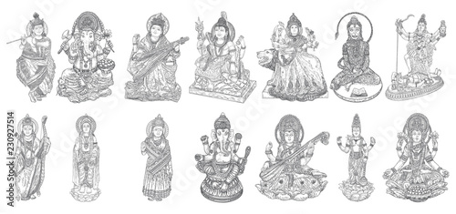 Set Of Gods For Indian Festival Goddess Durga Lord Rama