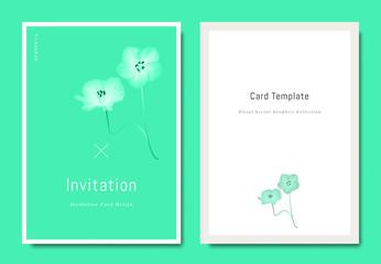 Botanical invitation card template design, Nemophila flower on green background, minimalist vibrant color