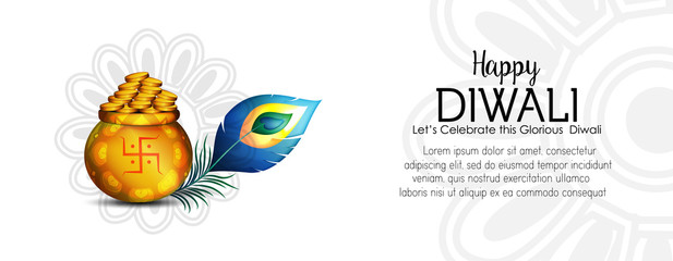 hand lettering inscription Happy Deepawali with shade to indian fire festival, calligraphic with feather and lapm