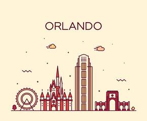 Fototapete - Orlando skyline Florida USA vector linear style