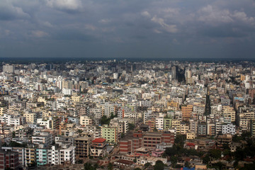 Preparation for landing in Dhaka, Bangladesh as seen from Biman plane