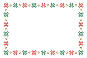 ノルディック柄のフレーム 雪の結晶