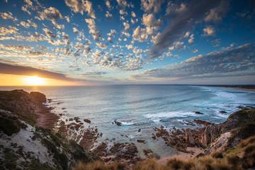 Dramatic sunset overlooking Cape Woolamai beach, Phillip Island, Victoria Australia