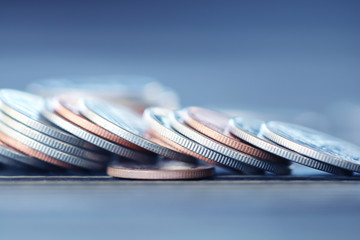 Rows of coins on the table for finance and Saving concept,Investment, Economy, Soft focus and dark style.
