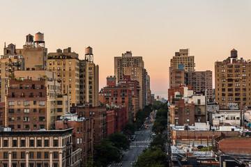 Urban neighborhood at sunset