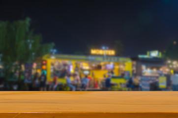 wood top table  blur Festival food truck