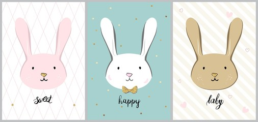 Cute rabbit. Print Vector illustration with  rabbit for baby shower, greeting card, invitation, t-shirt design