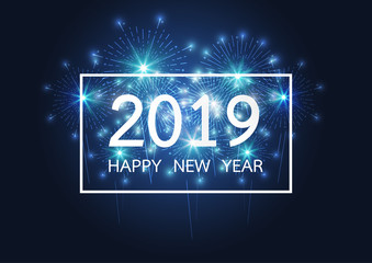 Happy new year 2019 with Firework on dark background for celebration, party, and new year event. Vector illustration