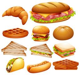 Set of various foods