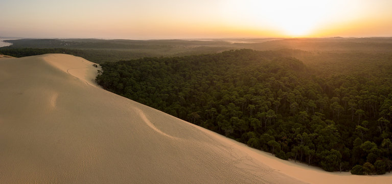 Aerial View Dune of Pilate, France. the largest sandy desert in Europe