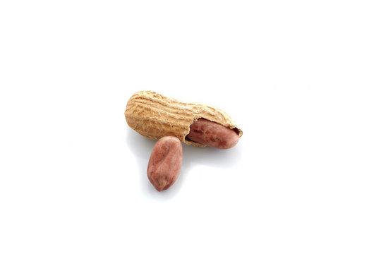 Peanuts.peeled nuts isolated on white background. Peanut macro. Selective Focus