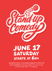 Stand up comedy. Vector lettering.