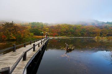 Benxi Guanmen mountain of China autumn scenic.
