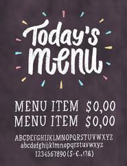 Today's menu. Chalkboard menu template.