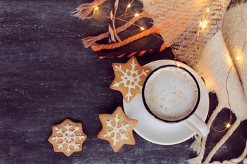 winter warming coffee/ frothy cappuccino, three ginger snowflakes and plaid with garland lights