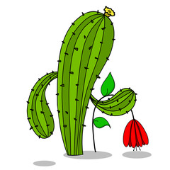Stock Illustration Cactus and Red Flower