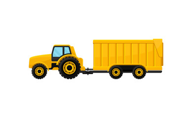 Bright yellow tractor with big trailer, side view. Heavy agricultural machinery. Farm equipment. Flat vector icon