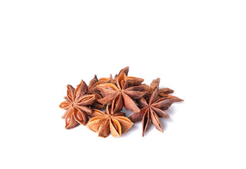 Star anise spice fruits isolated on white background
