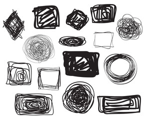 Grunge geometric shapes on isolated background. Big set on white. Hand drawn simple tangled symbols. Line art. Abstract circles, ovals and rectangle frames