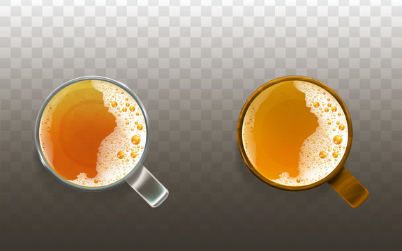 Vector realistic beer in glass, frothy drink top view. Golden transparent alcohol liquid, ale or lager in cups for party, celebration. Fresh product of brewery with foam bubbles isolated on background