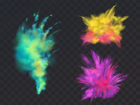 Vector realistic set of colorful powder clouds or explosions, isolated on transparent background. Abstract ink splashes, decorative vibrant paints for Holi fest, traditional spring indian holiday