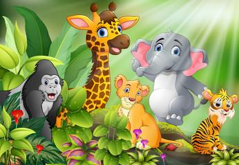 Cartoon of nature scene with wild animals