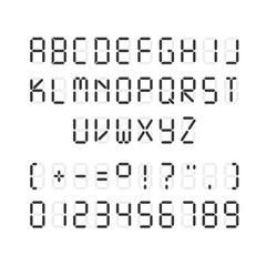 Vector template of black digital font. Illustration of letters and numerals with punctuation marks on white background