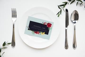 Invitation on a plate setting
